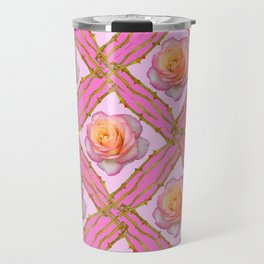 CREAMY  ROSES & RAMBLING THORNY CANES ON  PINK  DIAGONAL PATTERNS Travel Mug