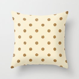 Blanched Almond Gold Glitter Dot Pattern Throw Pillow