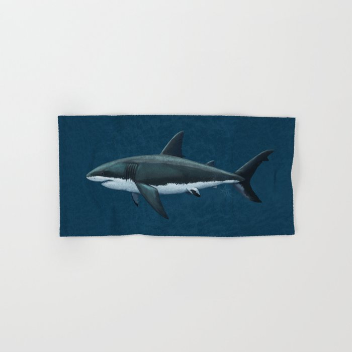 """Carcharodon carcharias"" by Amber Marine  ~ Great White Shark Art, (Copyright 2015) Hand & Bath Towel"