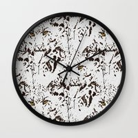 snow leopard Wall Clocks featuring Snow Leopard by lillianhibiscus