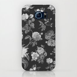 Vintage flowers on black iPhone Case