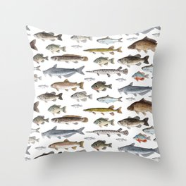 A Few Freshwater Fish Throw Pillow
