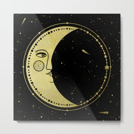 Moonface - Black & Gold Metal Print