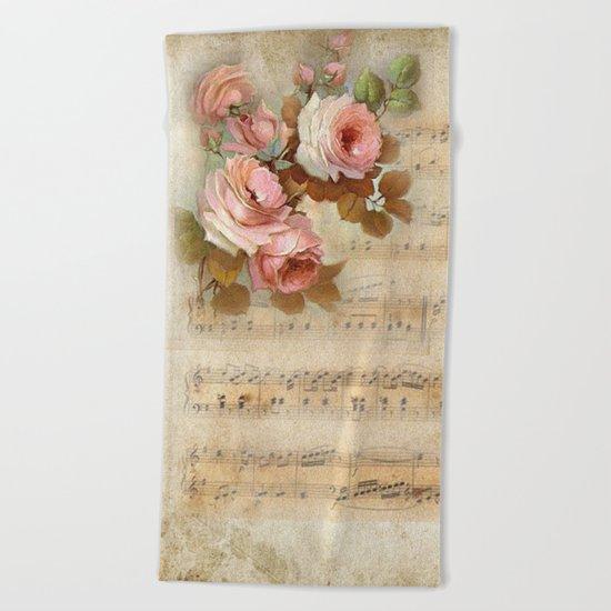 Vintage Music #5 Beach Towel