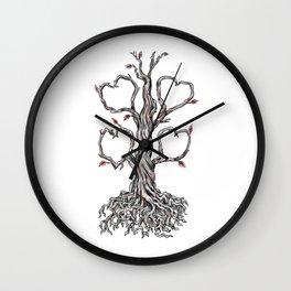 Gnarly Oak Tree Heart Tattoo Wall Clock