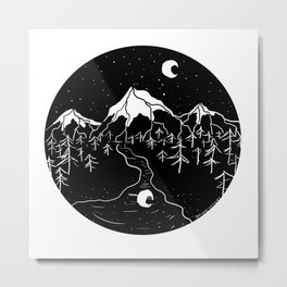 Moon Mountains Metal Print