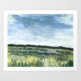 Pallet Knife Painting of the Baker Wetlands with greens and blues. Art Print