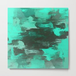Chill Factor - Abstract cyan blue painting Metal Print