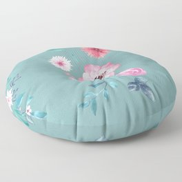 Watercolor Flowers on Limpet Shell Marble Floor Pillow