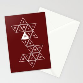 Red Unrolled D20 Stationery Cards