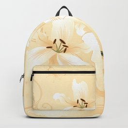Modern White Lilies (light golden) Backpack
