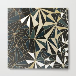 New Art Deco Geometric Pattern - Emerald green and Gold Metal Print