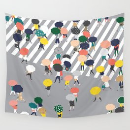 Crossing The Street on a Rainy Day - Grey Wall Tapestry