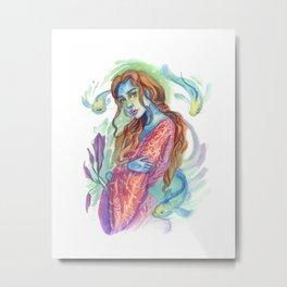 Kimono Blue Skin Mermaid  Metal Print