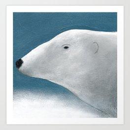 Blue Day Polar Bear Art Print