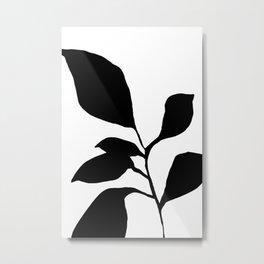 Minimalist Plant Silhouette - Six Leaf Plant Black Metal Print
