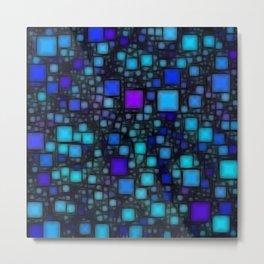 Post It Blue Glow Metal Print