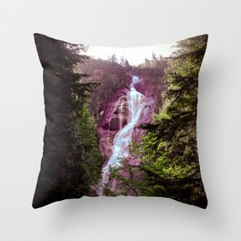 Shannon Falls in Pink and Green Throw Pillow
