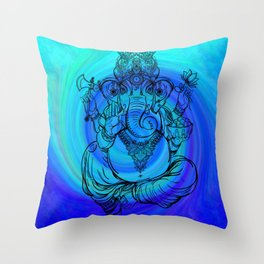 Lord Ganesha on Blue Spiral Throw Pillow