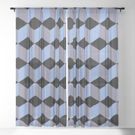 Diamond Repeating Pattern In Black Blue and Heather Sheer Curtain