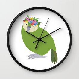 New Zealand Kakapo with flower crown Wall Clock
