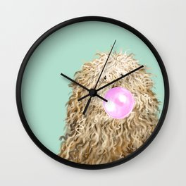 Puli Dog with Bubble Gum in Green Wall Clock