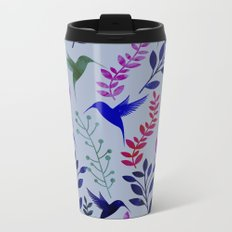Watercolor Floral & Birds Metal Travel Mug