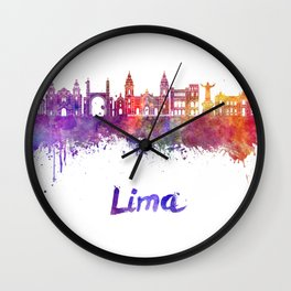 Lima skyline in watercolor Wall Clock