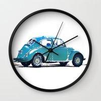 volkswagon Wall Clocks featuring Blue VW Bug by Regan's World