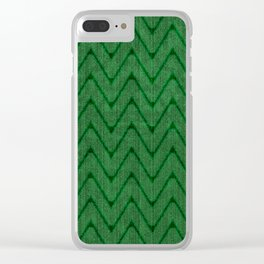 Faux Suede Kelly Green Chevron Pattern Clear iPhone Case