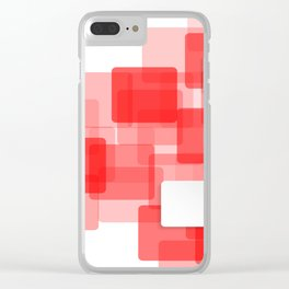 RED AND WHITE SQUARES ON A WHITE BACKGROUND Abstract Art Clear iPhone Case