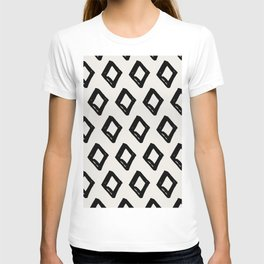 Modern Diamond Pattern Black on Light Gray T-shirt