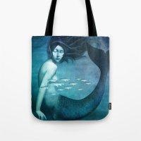 mermaid Tote Bags featuring Mermaid by Christian Schloe