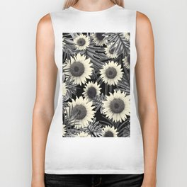 Tropical Sunflower Jungle Night Leaves Pattern #2 #tropical #decor #art #society6 Biker Tank