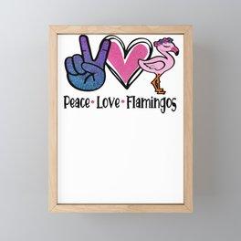 Peace Love and Flamingos Framed Mini Art Print