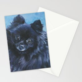 black POMERANIAN dog art portrait from an original painting by L.A.Shepard Stationery Cards