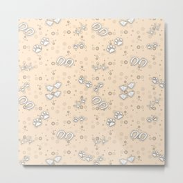 Champagne Tan Cute Baby Animal Tracks Pattern Design Metal Print