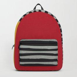Earth Tone, Red Orange Pattern, Scandinavian Design Backpack