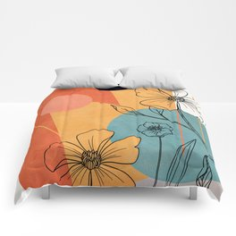Vibrant Flower Design 2 Comforters