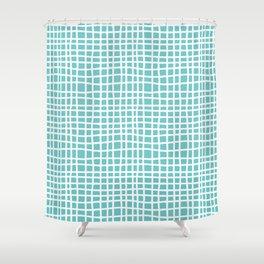 aqua ocean thread random cross hatch lines checker pattern Shower Curtain
