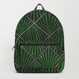 Art Deco Pattern - Emerald And Silver Grid  Backpack