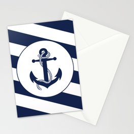 Nautical Anchor Navy Blue & White Stripes Beach Stationery Cards