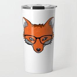 Smart Fox With Glasses Fox Lover Gift Travel Mug