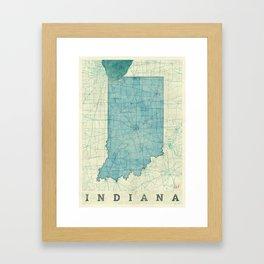 Indiana State Map Blue Vintage Framed Art Print