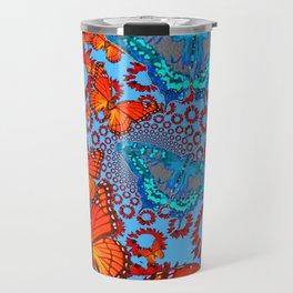 Blue & Orange Butterflies Abstract Pattern Art Travel Mug