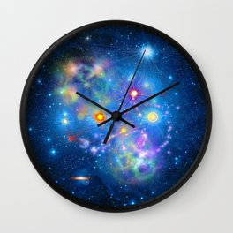 Colorful Pleiades Star Cluster Wall Clock