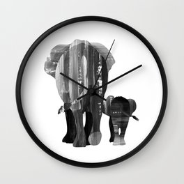 A walk together (black and white) Wall Clock