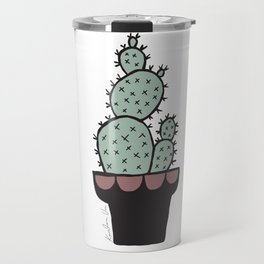 Cactus and Aloe Vera on pink Travel Mug