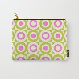 Mid Century Square and Circle Pattern 541 Pink and Chartreuse Carry-All Pouch