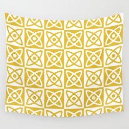 Mid Century Modern Atomic Check 138 Mustard Yellow Wall Tapestry